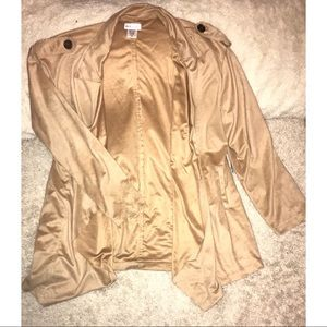 Faux Suede Open Draped Front Jacket